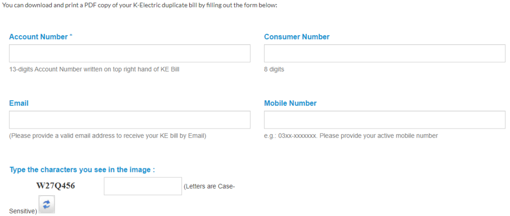 K-Electric Bill Through Email & SMS